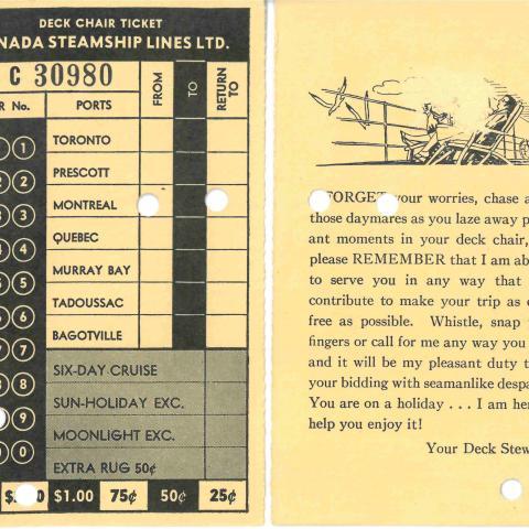 Numérisation d'un billet poinçonné donnant accès au pont d'un bateau de croisière, rédigé en anglais.