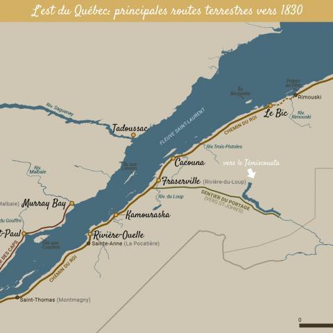 Carte en couleurs de l'est du Québec présentant les principales routes construites vers 1830.