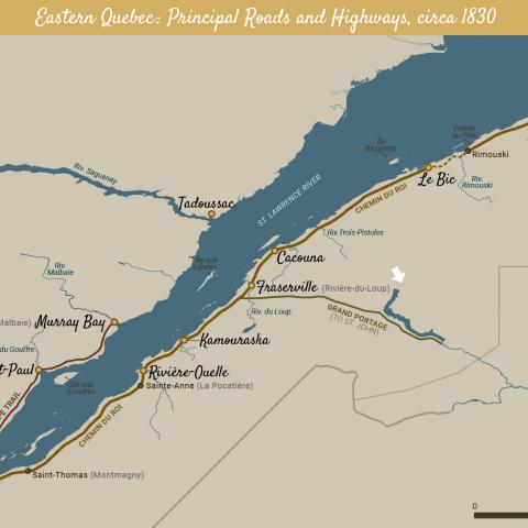 A coloured map of eastern Quebec showing the main roads built around 1830.
