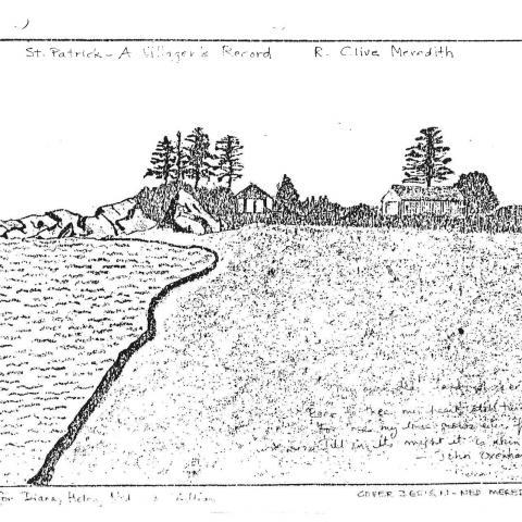 Photocopie d'un dessin représentant une plage, des arbres et arbustes ainsi que quelques bâtiments près du rivage.