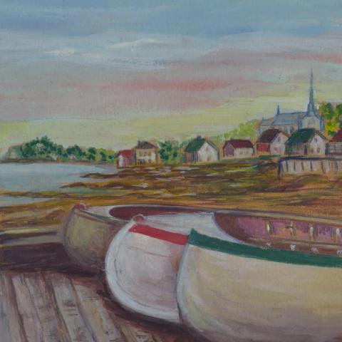 Aquarelle représentant trois canots de plaisance sur un quai en avant-plan, avec un village côtier en arrière-plan.