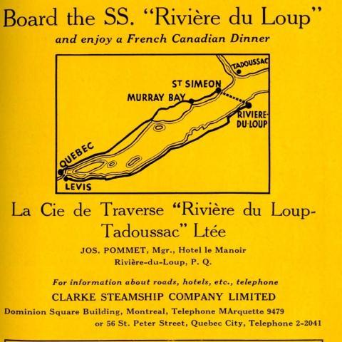 Publicité en anglais d'un service de traversier. Une carte présente une suggestion de trajet de voyage dans l'est du Québec.