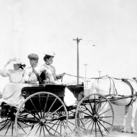 Trois dames dans un boghei sur le quai.