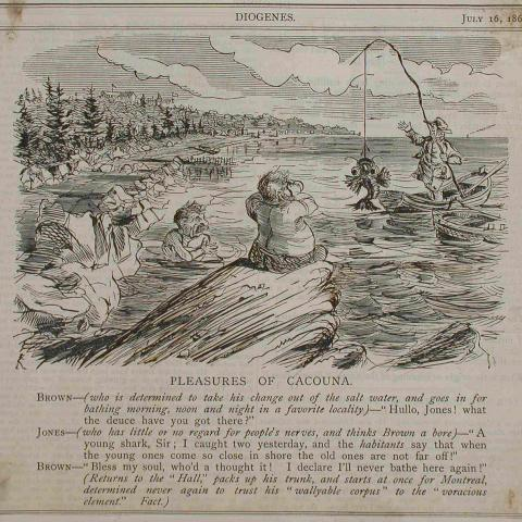 Caricature en anglais représentant un nageur qui discute avec un pêcheur debout dans sa chaloupe, un poisson au bout de ligne.